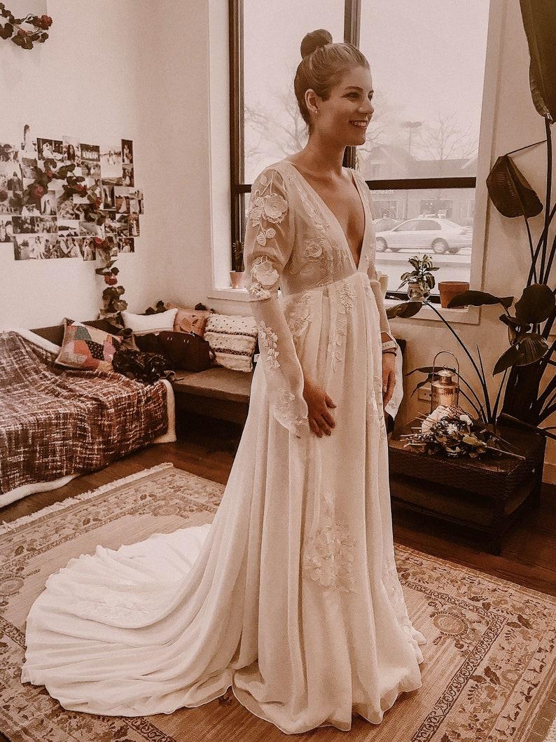 Beautiful Bohemian Wedding Dress  Novella  Made To Measure  image 1