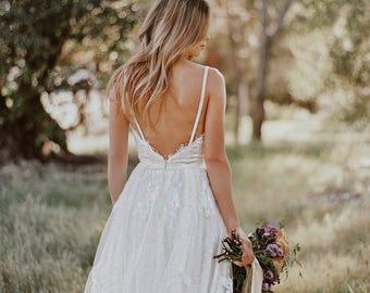 sample SALE / Gillian / Lace Bohemian Wedding Dress / Cotton Lace with OPEN BACK Boho Romantic Rustic Wedding Dress /Thin Spaghetti Straps