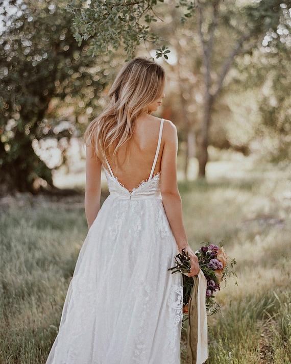 Sample Sale Gillian Lace Bohemian Wedding Dress Cotton Lace With Open Back Boho Romantic Rustic Wedding Dress Thin Spaghetti Straps