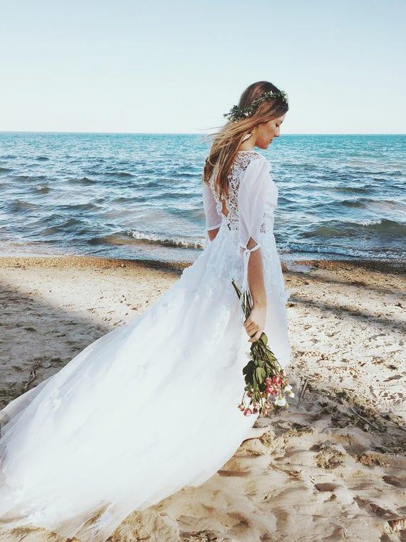 0a36c57aa5944 Malibu Dress / Bohemian Wedding Dress / CROCHET LACE BACK /   Etsy