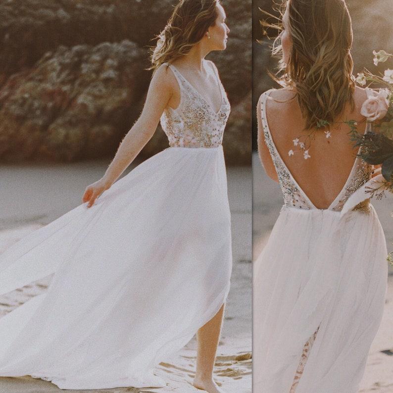082ee08740 Laguna / Beach Bohemian Wedding Dress / Lace Beach Wedding | Etsy