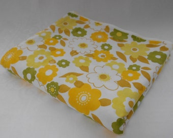Vintage Fabric Retro Flower Power Flat Double Bed Sheet in Yellows and Green - Unused NOS 1970's  #10250