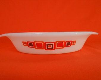 "Vintage Crown Agee Pyrex ""Moderne"" Oval Divided Casserole 1.25 Litre 1975  #10131"