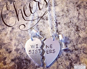 wine sisters matching metal stamped necklace set!