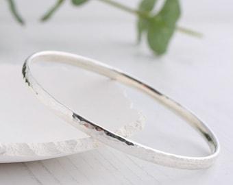 Thick silver bangle, Solid silver round bangle, handmade silver bangle, hammered silver bangle, stacking bangle, UK made Hallmarked bangle