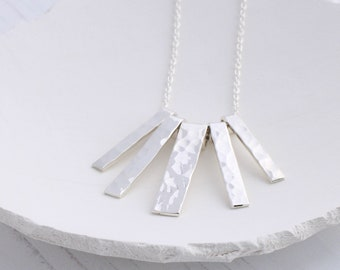 Sterling silver bar necklace, short necklace for women, Art Deco necklace