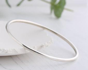 Solid silver bangle, Thick silver bangle, Hallmarked silver bangle, Plain sterling silver bangle, smooth highly polished bangle