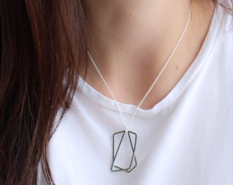 Silver geometric necklace, Sterling silver for women, layered silver necklace, layered geometric necklace in the UK, statement necklace