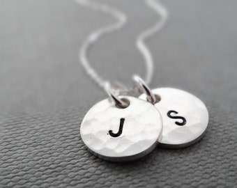 Hammered initial necklace, letter necklace, initial necklaces for women, personalised letter necklace, bridesmaid gift, sterling silver