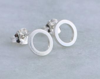 Silver Halo Stud Earrings, small silver stud earrings, geometric stud earrings for women
