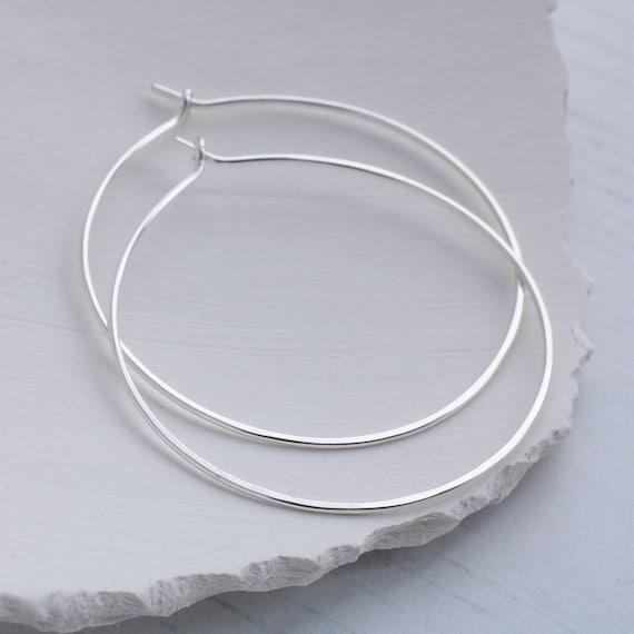 Sterling Silver hoop earrings, hammered hoops, silver hoop earrings for women, delicate hoop earrings, medium hoop earrings