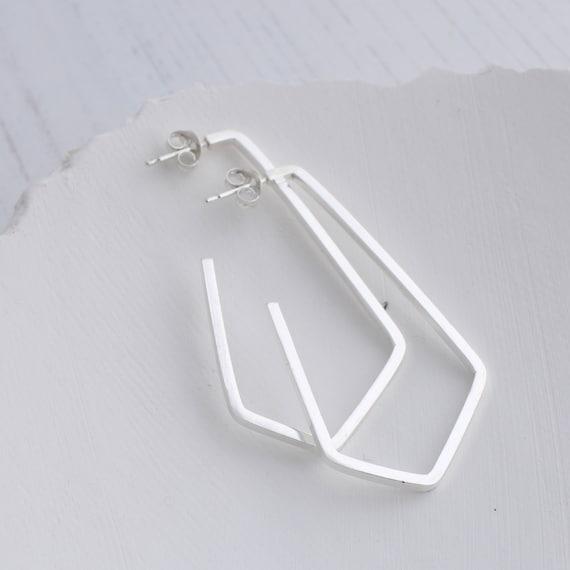 Thick hoop earrings   Geometric hoop earrings for women, minimalist hoop earrings, sterling silver earrings
