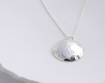 Simple silver necklace for women, Hammered silver pendant, understated necklace, minimal necklace gift for woman