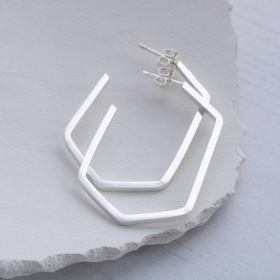 Minimalist hoop earrings for women   Statement hoop earrings, sterling silver hoops, geometric hoop earrings, hexagon hoops