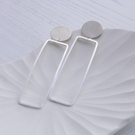 Sterling silver statement earrings   long silver earrings, minimalist earrings, rectangular earrings, geometric earrings