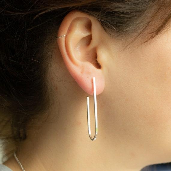 Contemporary earrings   Long hoop earrings, sterling silver hoop earrings, geometric earrings, minimalist earrings
