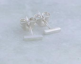 Silver Bar Stud Earrings, small silver stud earrings, minimalist stud earrings for women, everyday earrings gift idea