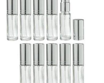 Clair en verre rechargeable voyage parfum vaporisateur - 0,15 oz (paquet de 10) *** livraison gratuit ***