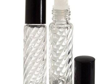 Claire tourbillon épais verre tourbillon Design Roll-on bouteille - 0,33 oz (2 pack) *** livraison gratuit ***