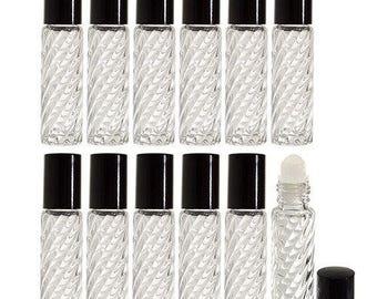 Claire tourbillon épais verre tourbillon Design Roll-on bouteille - 0,33 oz (pack de 12) *** livraison gratuit ***