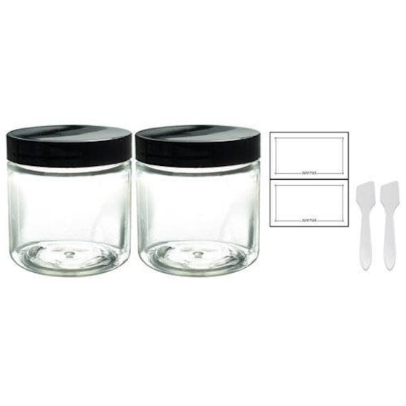 4oz Clear Plastic Jars with Labels /& Spatulas /& Lids ; Straight Side... 12-Pack