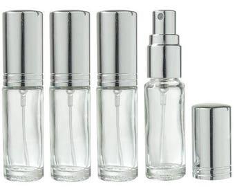 Clair en verre rechargeable voyage parfum vaporisateur - 0,15 oz (4 pack) *** livraison gratuit ***