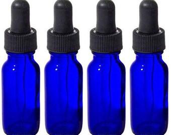 Bleu cobalt verre Boston ronde flacon compte-gouttes - 0.5 oz (4 pack) *** livraison gratuit ***