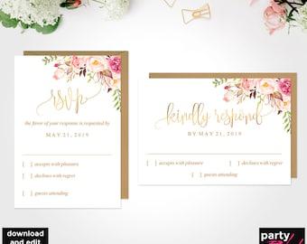 DIY Rsvp Floral Greenery Rsvp Card template Editable Calligraphy Rsvp Printable TEMPLETT Pdf Instant Download AB520 RSVP Postcard