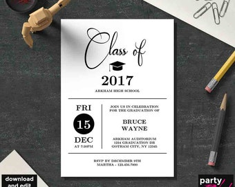 Printable Graduation Party Invitation Template, Grad Party, Graduation, Party Template, Kraft, DIY Graduation Party, Instant Download, GD06