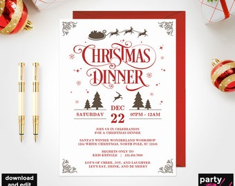christmas invitation etsy