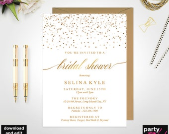 Glitter bridal shower invitation etsy bridal shower invitation instant download gold bridal shower invitation template elegant bridal shower invitation gold glitter brs05 filmwisefo
