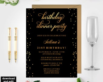 Black gold invite etsy birthday dinner invitation template black and gold birthday party 21st birthday gold dinner invitation birthday party invite bd46 filmwisefo