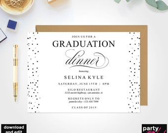 Graduation Dinner Party Invitation Template Printable Instant Download DIY DP08