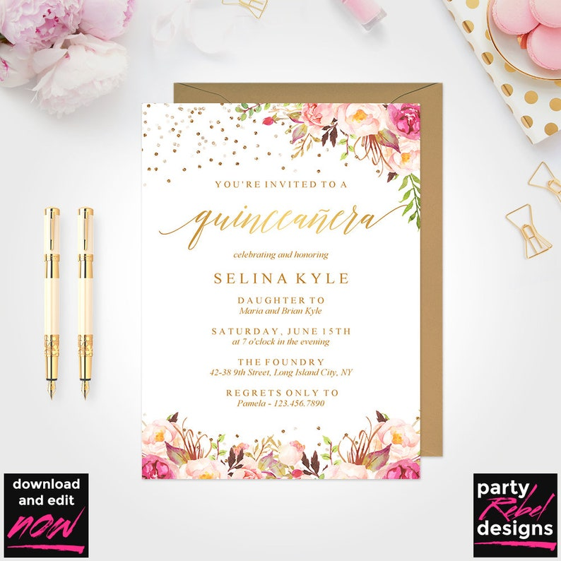Quinceanera Invitation Template Mis Quince Printable Etsy