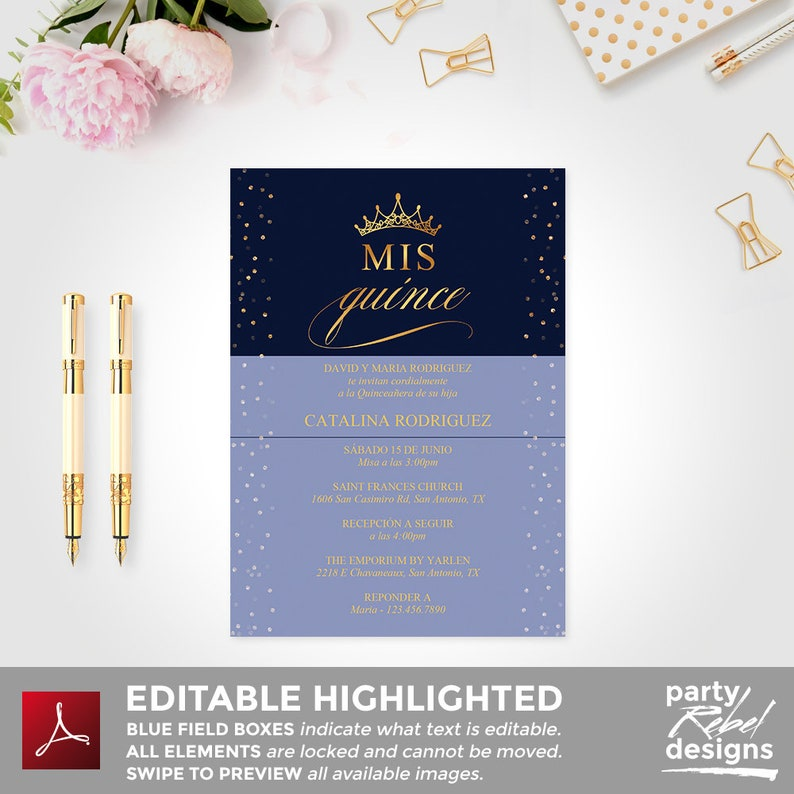 Quinceañera Party Invitation Template, Spanish Quinceanera Invitation, Mis  Quince, Navy and Gold Quinceañera Template Instant Download, BD36