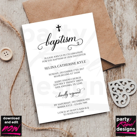 baptism invitation template printable baptism traditional etsy