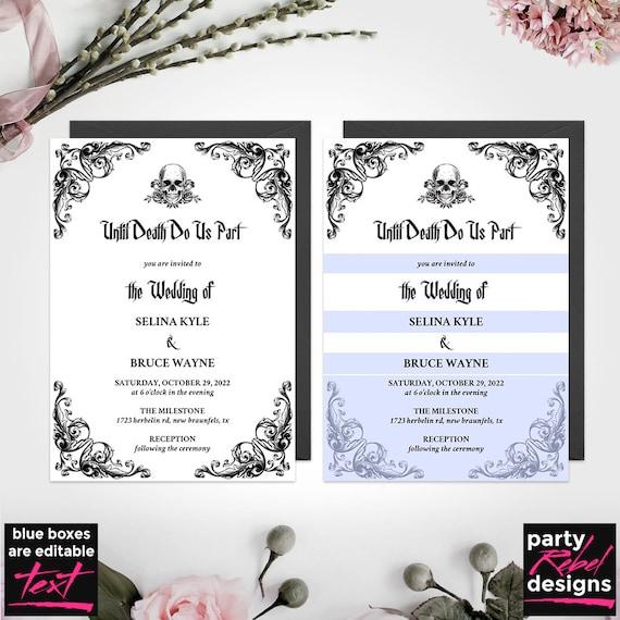 Editable Wedding Invitation Black Wedding Invitation Gothic Wedding Invitation WS34 Hallowedding Halloween Wedding Wedding Template