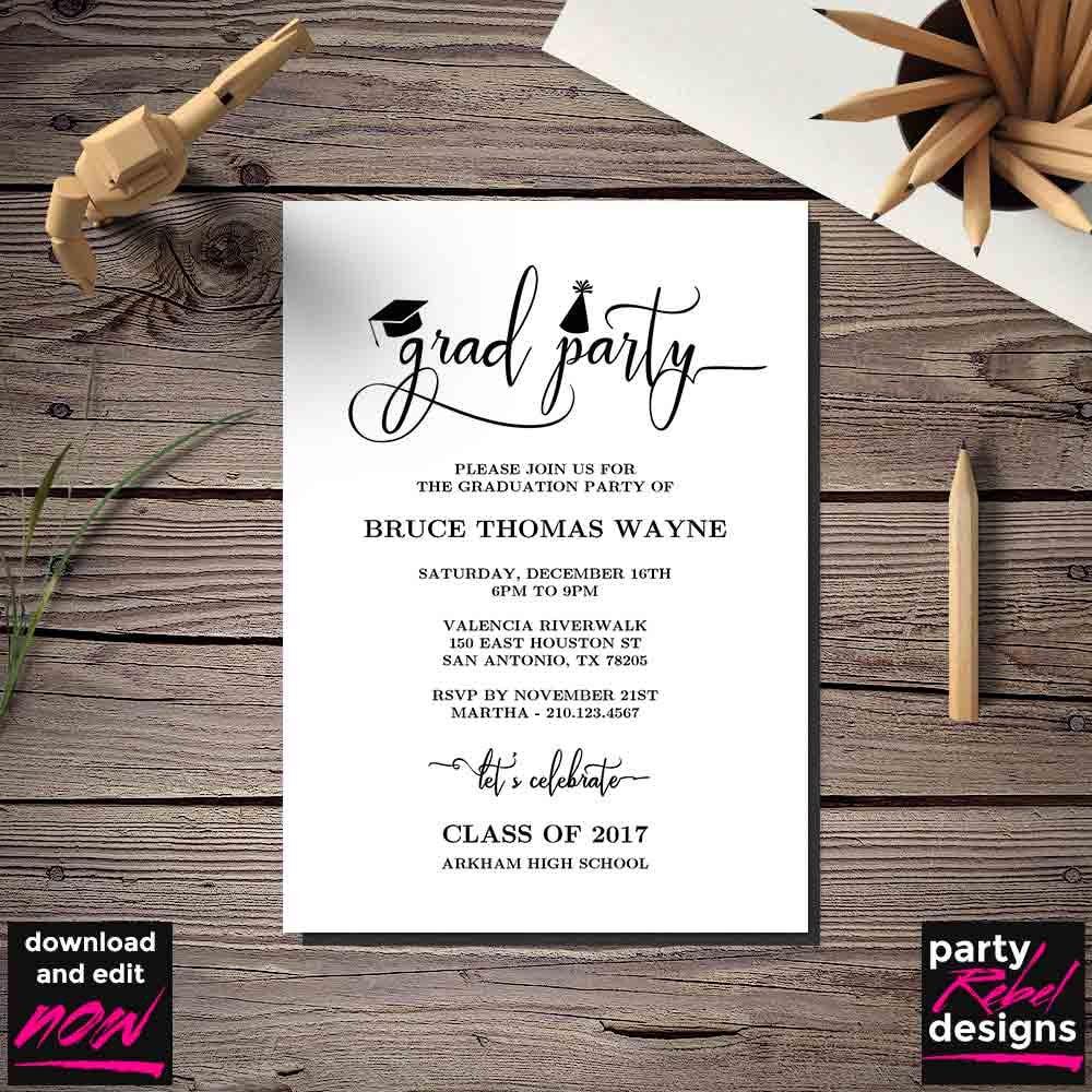 Printable Graduation Party Invitation Template Grad Party