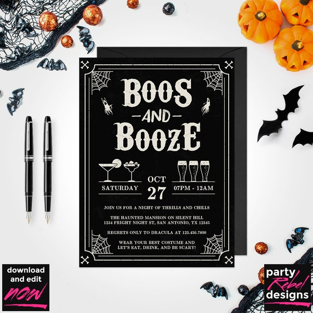 Halloween Party Invitation Printable, Boos and Booze