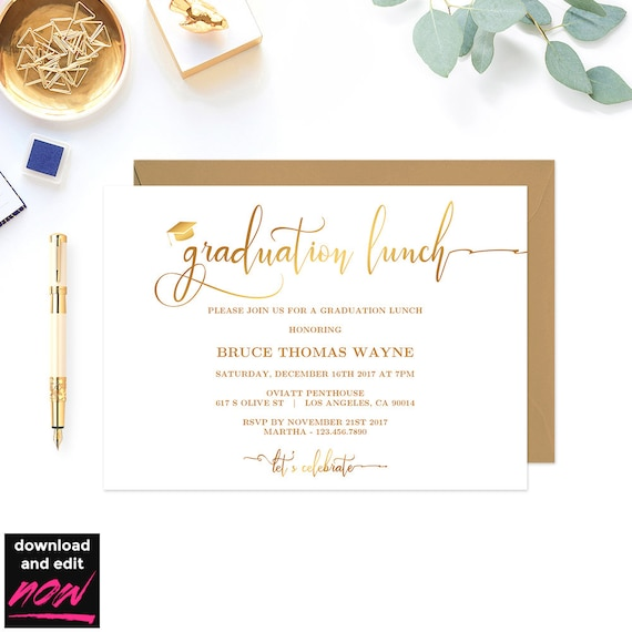 Gold Graduation Lunch Party Invitation Printable Template Grad Party Gold Graduation Lunch Party Template Diy Graduation Party Gd24