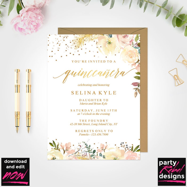 Quinceanera Invitation Template Mis Quince Printable DIY Instant Download Floral BD74