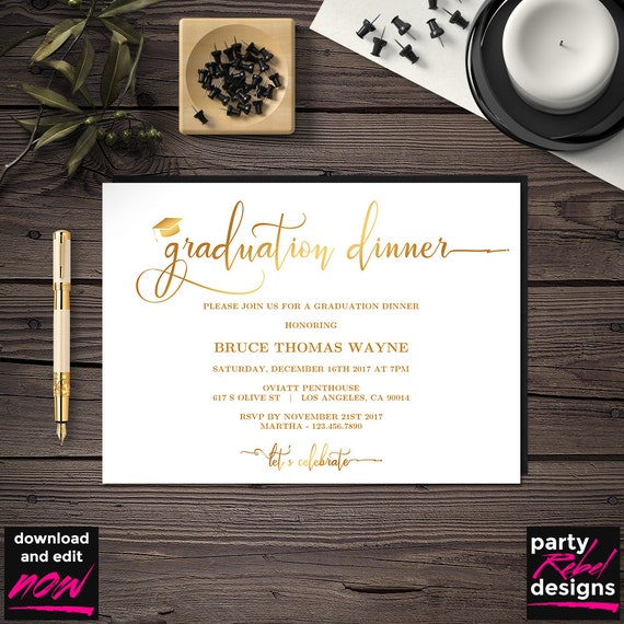 gold graduation dinner party invitation printable template etsy