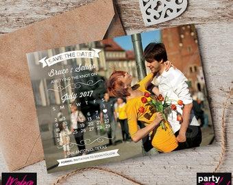 Calendar Save The Date, Vintage Save The Date, Photo Save The Date, Printable Save The Date, Postcard Invitation, STD80