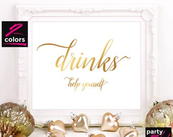 Drinks Printable Sign, Drinks Sign, Printable Wedding Sign, Wedding Decor, Printable Baby Shower, Party Sign, Gold, Black, TBS01