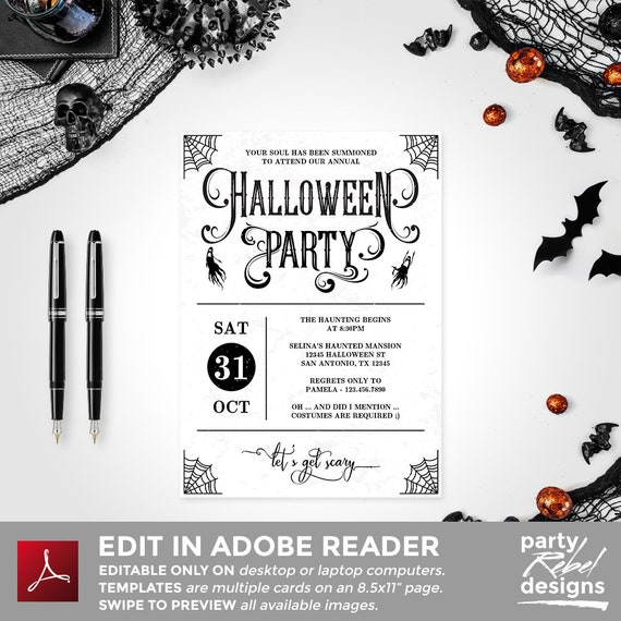 photograph about Printable Halloween Party Invitations named Halloween Celebration Invitation Printable, Halloween Invitation, Halloween Template, Halloween Gown Social gathering, Editable, Witch Occasion, HW03