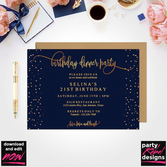 Birthday Dinner Invitation Template Party Instant Download Editable Navy BD30