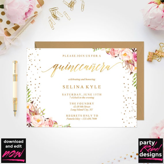image about Printable Quinceanera Invitations named Quinceañtechnology Invitation Template, Mis Quince, Printable Quinceañtechnology, Do-it-yourself Quinceañtechnology Invitation, Quinceañtechnology Quick Down load, Floral, BD37
