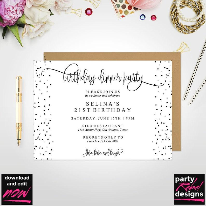 Birthday Dinner Invitation Template Birthday Party Birthday Invitation Instant Download Editable Birthday Invitation Birthday PDF BD30