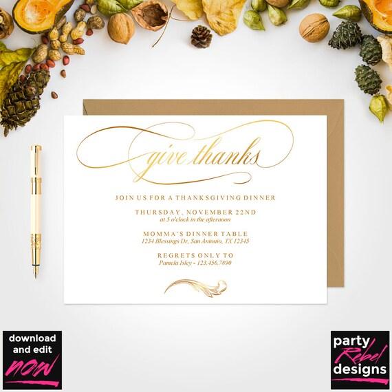 Thanksgiving Invitation Template Printable Thanksgiving Etsy