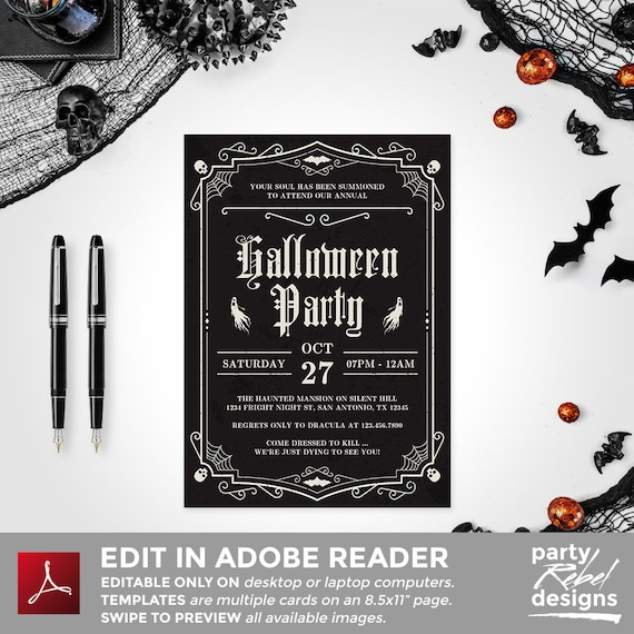 photograph about Printable Halloween Party Invitations identify Halloween Get together Invitation Printable, Halloween Invitation, Halloween Template, Halloween Dress Occasion, Editable, Witch Get together, HW30